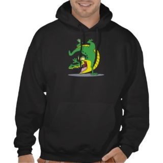 happy alligator crocodile cartoon dancing pullover