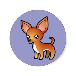 Cartoon Chihuahua (red and white smooth coat) stickers by SugarVsSpice
