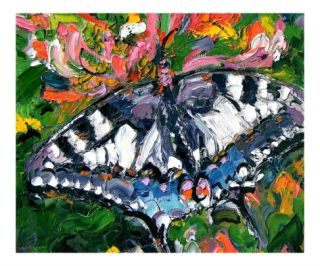 Butterfly on Honeysuckle   Oil Painting Giclee Print by Ginette Callaway
