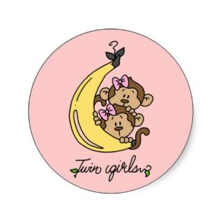 Monkeys Twin Girls T shirts and Gifts Stickers