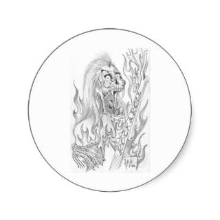 multiple products selected) Skeletal Rock & Roll Round Sticker