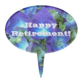 Happy Retirement Blue Floral Cake Topper