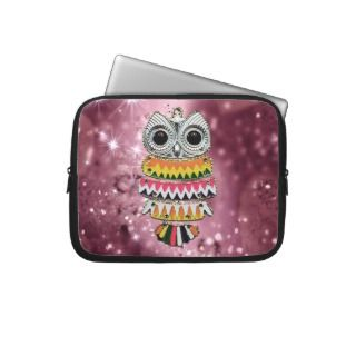 Cute Bling Owl With Colorful Zig Zag Pattern Laptop Sleeves