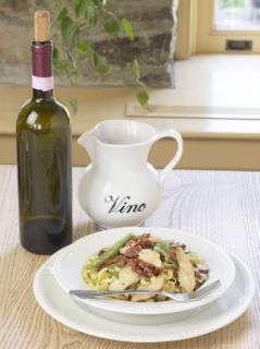Expensive Bottle and Pitcher of Wine Beside Tasty Bowl of Pasta Photographic Print