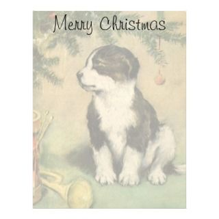 Vintage Christmas, Cute Puppy Under Christmas Tree Personalized