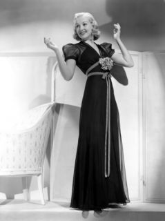 Betty Grable in Black Chiffon Dinner Dress, 1938 Premium Poster