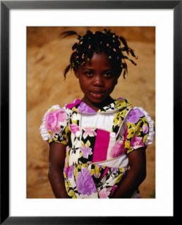 Portrait of Young Girl, Looking at Camera, Sassandra, Cote dIvoire Pre made Frame
