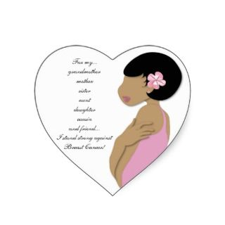 Ethnic I Stand Strong against Breast Cancer Heart Stickers