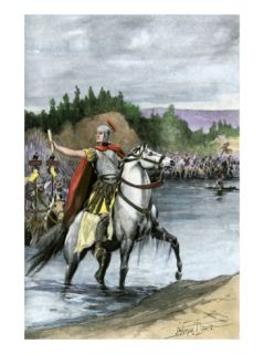 Julius Caesar Crossing the Rubicon to Begin a Civil War Against Pompey, 49 Bc Giclee Print