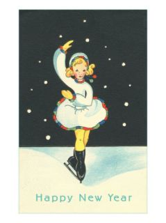 Little Ice Skating Girl in Snow Premium Poster