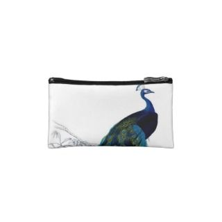Vintage Blue Elegant Colorful Peacock Cosmetic Bag