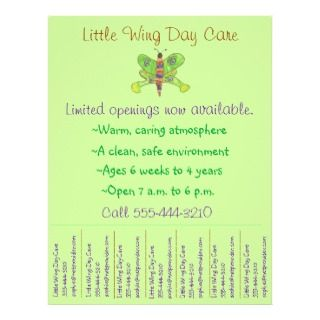 Child care flyer / day care flyer w/ tear off info by