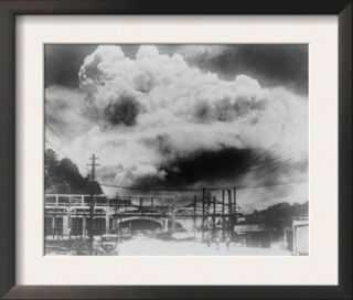Japanese Photo of the Mushroom Cloud of the Atomic Bomb Blast in Nagasaki, Japan, Aug. 9, 1945 Pre made Frame