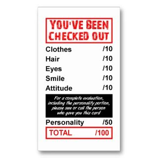 Rating Pick Up Card Youve Been Checked Out Business Card Templates