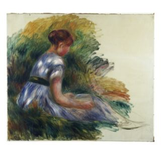 Alice Gamby in the Garden, Young Girl Sitting in the Grass, 1891 Giclee Print by Pierre Auguste Renoir