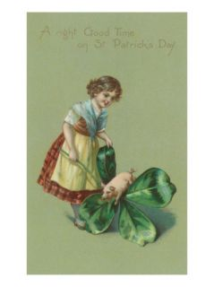 A Good Time on St. Patricks Day, Pig and Giant Shamrock Premium Poster