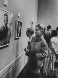Actress Martha Hyer Looking at a Painting by Vincen Van Gogh During Her Visit to an Art Gallery Premium Photographic Print