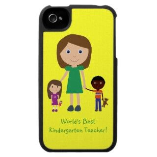 Worlds Best Kindergarten Teacher Cute Cartoon iPhone 4 Cases