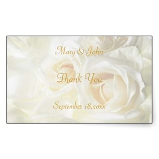 White Roses Thank You Wedding Greeting Card