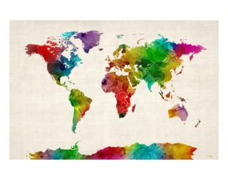 Watercolor Map of the World Map Premium Giclee Print by Michael Tompsett