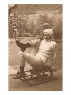 Bare Legged Woman on Sled Premium Poster