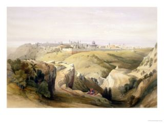 Jerusalem from the Mount of Olives, April 8th 1839, Plate 6 from Volume I of The Holy Land Giclee Print by David Roberts
