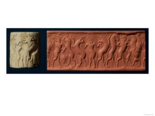 Early Dynastic II Seal of Hero and Bull Man Fighting Lions, 2650 BC Giclee Print