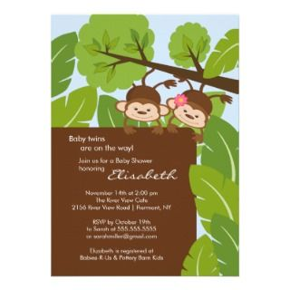 Monkey Twins Baby Shower Invitation Boy Girl