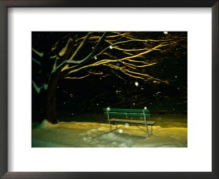Snow falls on a park bench at night Pre made Frame