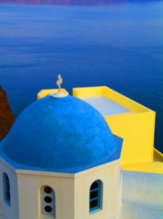 Beautiful Church with Blue Roof, Oia, Santorini, Greece Photographic Print by Bill Bachmann