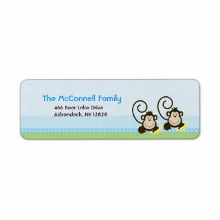 Silly Monkeys Twins PRINTABLE ADDRESS LABELS