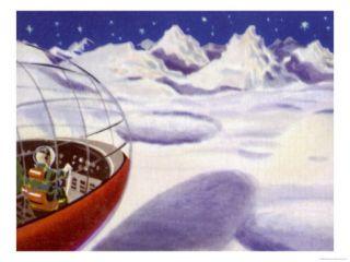 Spaceship Landing on the Moon Giclee Print