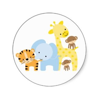 Jungle Animals Baby Birth Announcements