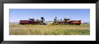 Steam Engine Jupiter and 119 on a Railroad Track, Golden Spike National Historic Site, Utah, USA Pre made Frame