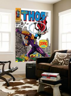 Thor #140 Cover: Thor and Growing Man Fighting Laminated Oversized Art by Jack Kirby