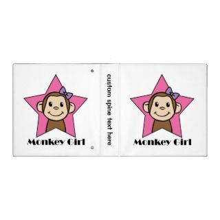 19.95   Cartoon Clip Art Smile Monkey Girl Pink Star Bow Binders