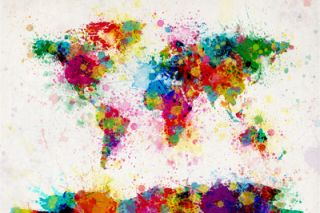 World Map Paint Splashes Stretched Canvas Print by Michael Tompsett