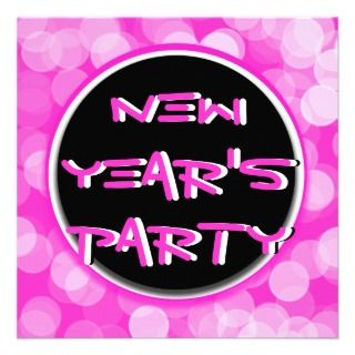 Retro modern New Year holiday party hot pink black Custom Invite