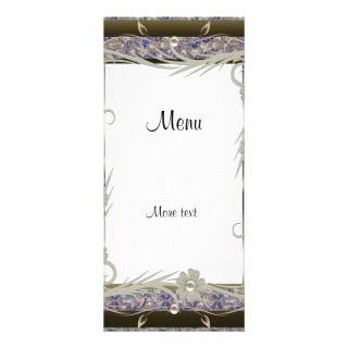 Rack Menu Card Vintage Silver Gold Blue Pink Rack Card