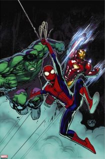 Free Comic Book Day #1 Cover: Spider Man, Iron Man and Hulk Stretched Canvas Print by Nakayama David