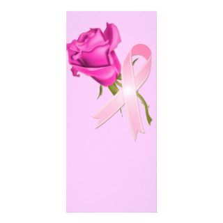 Pink Ribbon with Rose *Breast Cancer Awareness * Rack Cards