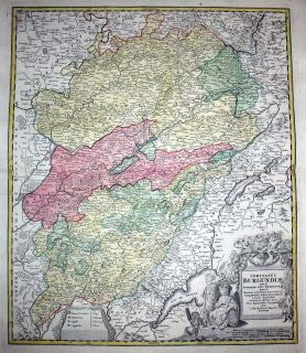 1720   Bourgogne Burgund France Map Carte Homann Kupfer