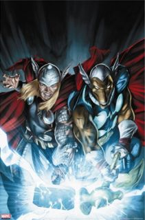 Secret Invasion Thor #3 Cover Thor and Beta Ray Bill Stretched Canvas Print by Braithwaite Doug