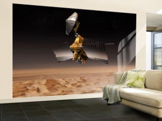 Mars Reconnaissance Orbiter Passes above Planet Mars Wall Mural – Large