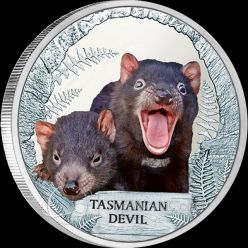 Tuvalu 2013 1$ Tasmanian Devil Endangered and Extinct Proof Silver