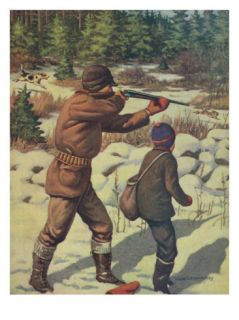 National Sportsman   Father and Son with their Dog in a Hunting Scene, c.1921 Print
