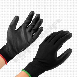 Black 10 Pairs PU Coated Safety Precision Work Garden Industry Gloves