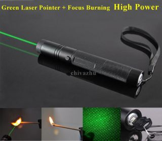 HIGH POWER Green Laser Pointer Adjustable Focus Burning FREE Li