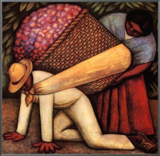 The Flower Carrier Framed Canvas Print by Diego Rivera