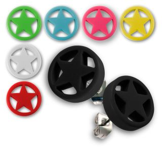 OHRSTECKER STERN STAR ROCKABILLY OHR SCHMUCK OHRRINGE FAKE PLUG EMO